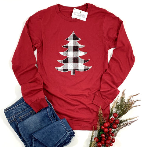 BUFFALO PLAID CHRISTMAS TREE - ADULT LONG SLEEVE