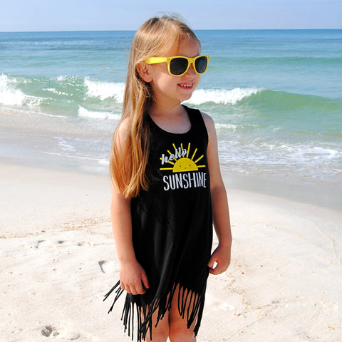 HELLO SUNSHINE GIRLS BLACK FRINGE DRESS