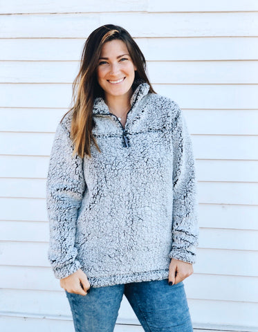 SHERPA QUARTER ZIP PULLOVER - FROSTY GREY - ADULT AND YOUTH SIZES - Ice Cream Life