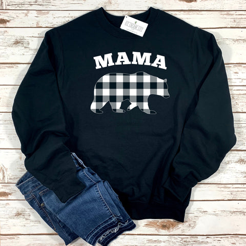 MAMA BEAR BUFFALO PLAID ADULT SWEATSHIRT - Ice Cream Life