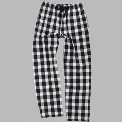 BLACK & WHITE BUFFALO PLAID FLANNEL PAJAMA PANTS - YOUTH AND ADULT