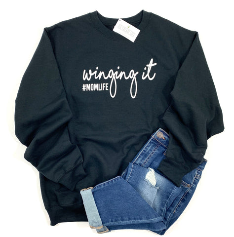 WINGING IT MOM LIFE SWEATSHIRT