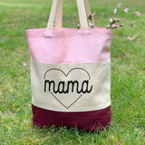 MAMA HEART CANVAS TOTE BAG