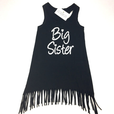 BIG SISTER BLACK FRINGE DRESS - Ice Cream Life