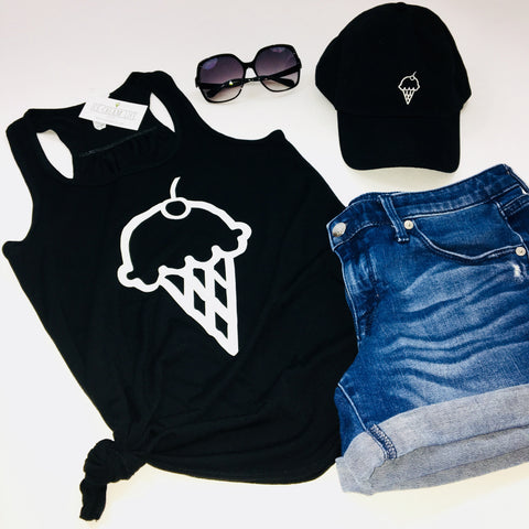 ICE CREAM CONE FLOWY RACERBACK TANK TOP - BLACK - Ice Cream Life