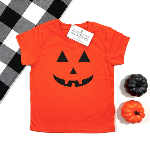 JACK O LANTERN FACE KIDS SHIRT - ORANGE - Ice Cream Life