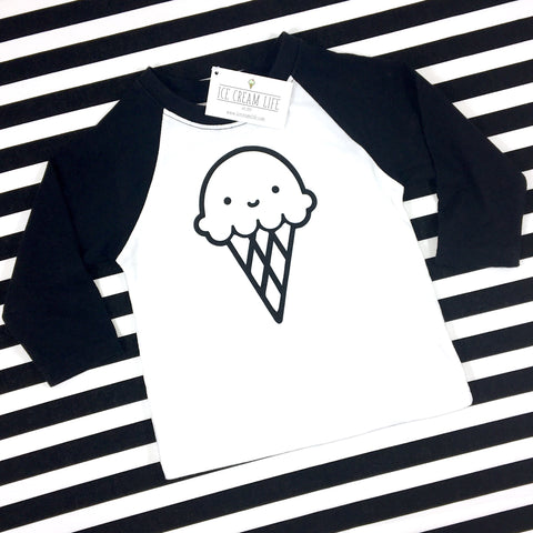 SMILEY ICE CREAM CONE KIDS RAGLAN - Ice Cream Life