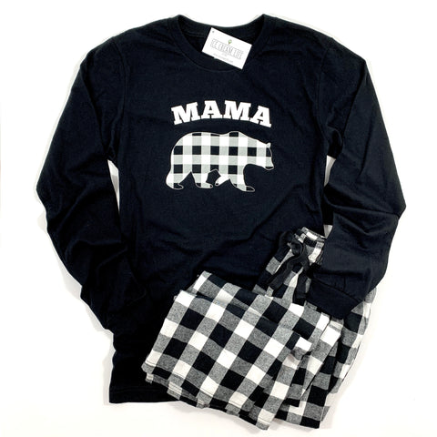 MAMA BEAR BUFFALO PLAID ADULT LONG SLEEVE