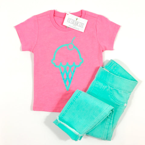 ICE CREAM CONE PINK KID SHIRT - Ice Cream Life
