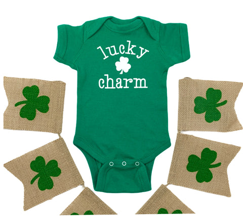 LUCKY CHARM WHITE ON GREEN ONESIE BODYSUIT