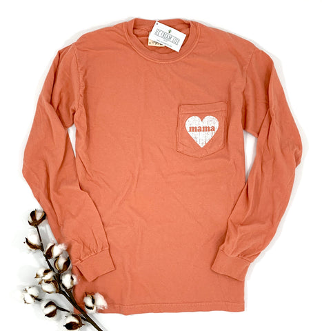 MAMA HEART LONG SLEEVE POCKET SHIRT - TERRACOTTA - Ice Cream Life