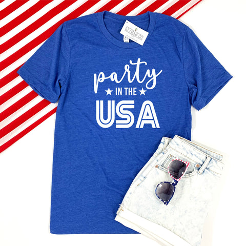 PARTY IN THE USA ADULT SHIRT - BLUE