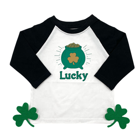 LUCKY POT OF GOLD - KIDS RAGLAN SHIRT