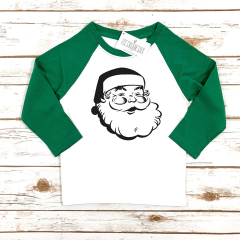 JOLLY SANTA KIDS RAGLAN - GREEN SLEEVES - Ice Cream Life