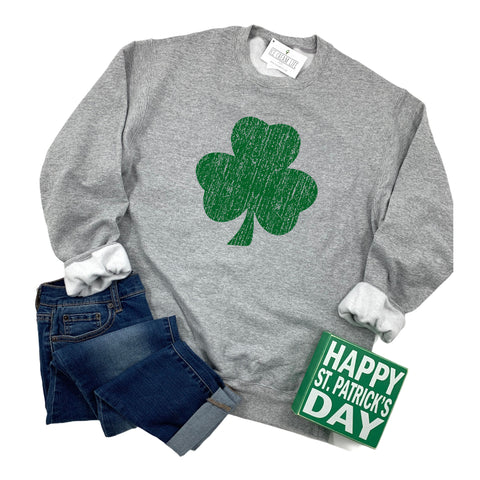 VINTAGE SHAMROCK - ADULT SWEATSHIRT - HEATHER GRAY