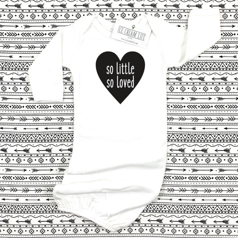 BLACK AND WHITE SO LITTLE SO LOVED HEART BABY GOWN
