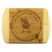 Round Edge Bamboo Cutting Board with Backyard Life Gear Logo