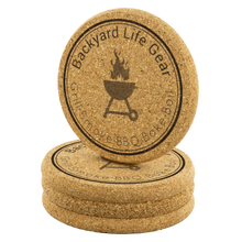 Backyard Life Gear Round Logo Cork Coaster Set