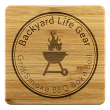 Backyard Life Gear Logo Bamboo Coaster Set