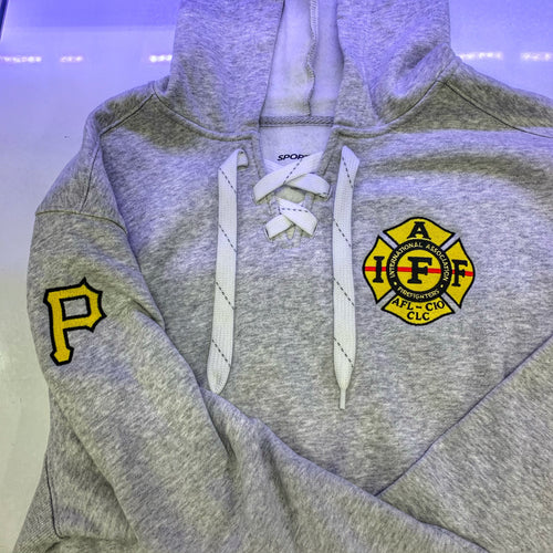 Custom Lace Up hoodie (YOUR LOGO NEEDS DIGITIZED)