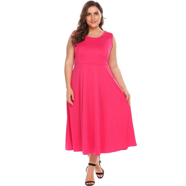 Plus Size Women Vintage Dress XL-5XL Casual Long Sleeve Solid O Neck Flare  A-Line Swing Dresses