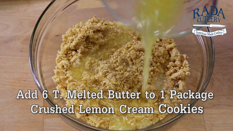 Crush Lemon Creme Cookies and add to a large mixing bowl. Then add 6 T. of Melted Butter