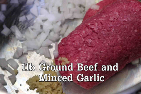 Place your Onion, Ground Beef, and Minced Garlic into a large stovepot