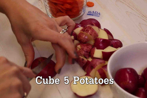 Cube five Red Potatoes using RADA Cutlery's Super Parer!