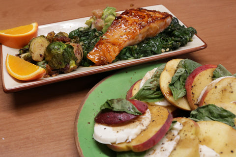Summer Salmon with Apricot and Siracha Glaze and peach caprese salad in the bottom right corner