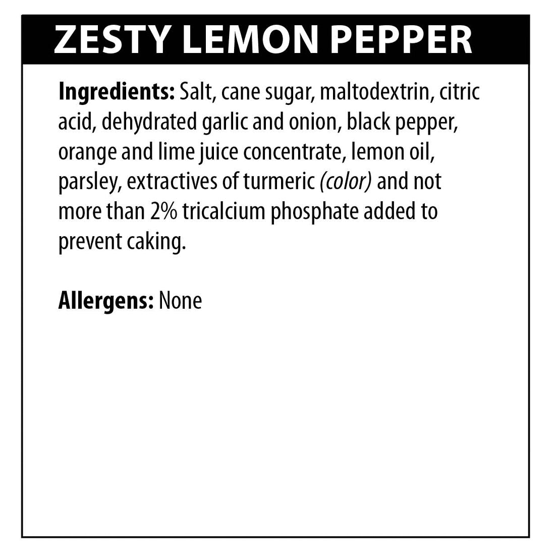 Zesty Lemon Pepper Seasoning Ingredients