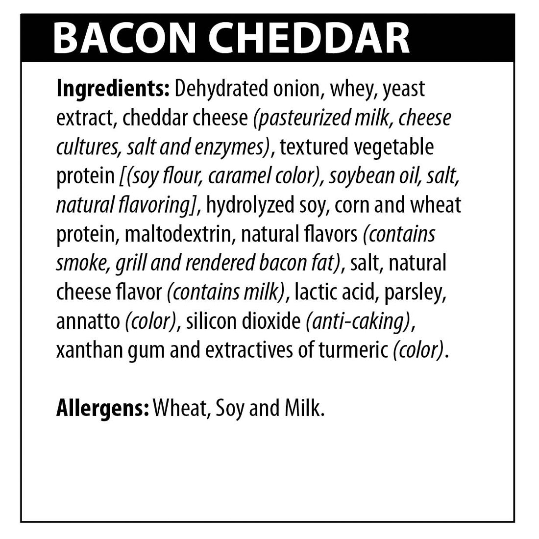 Bacon Cheddar Dip Ingredients
