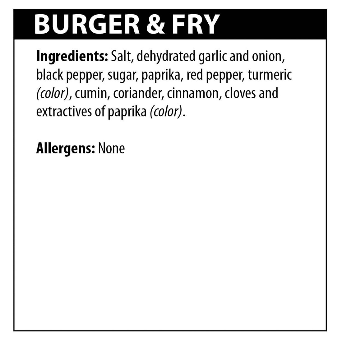 Burger Fry Seasoning Ingredients