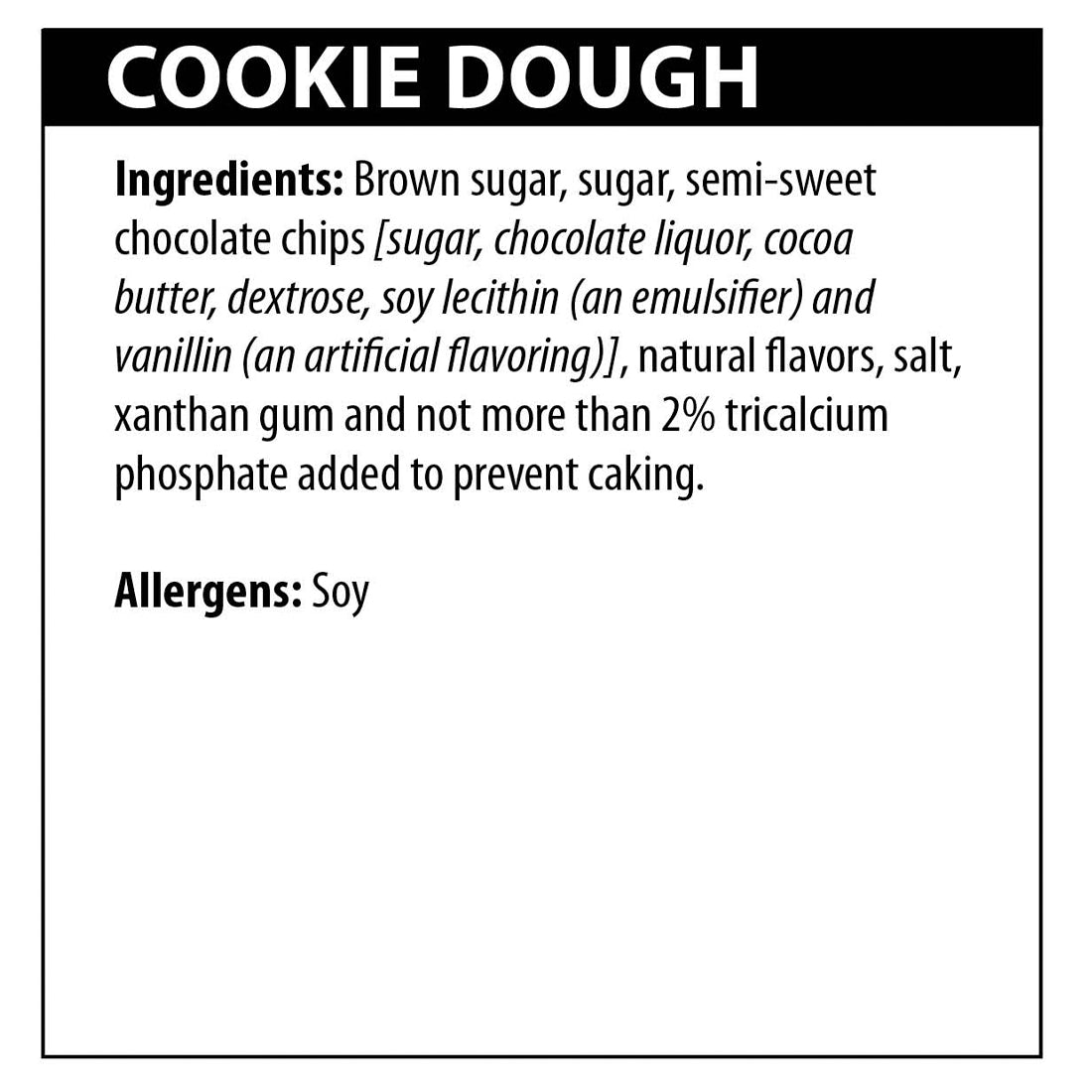 Cookie Dough Sweet Dip Ingredients