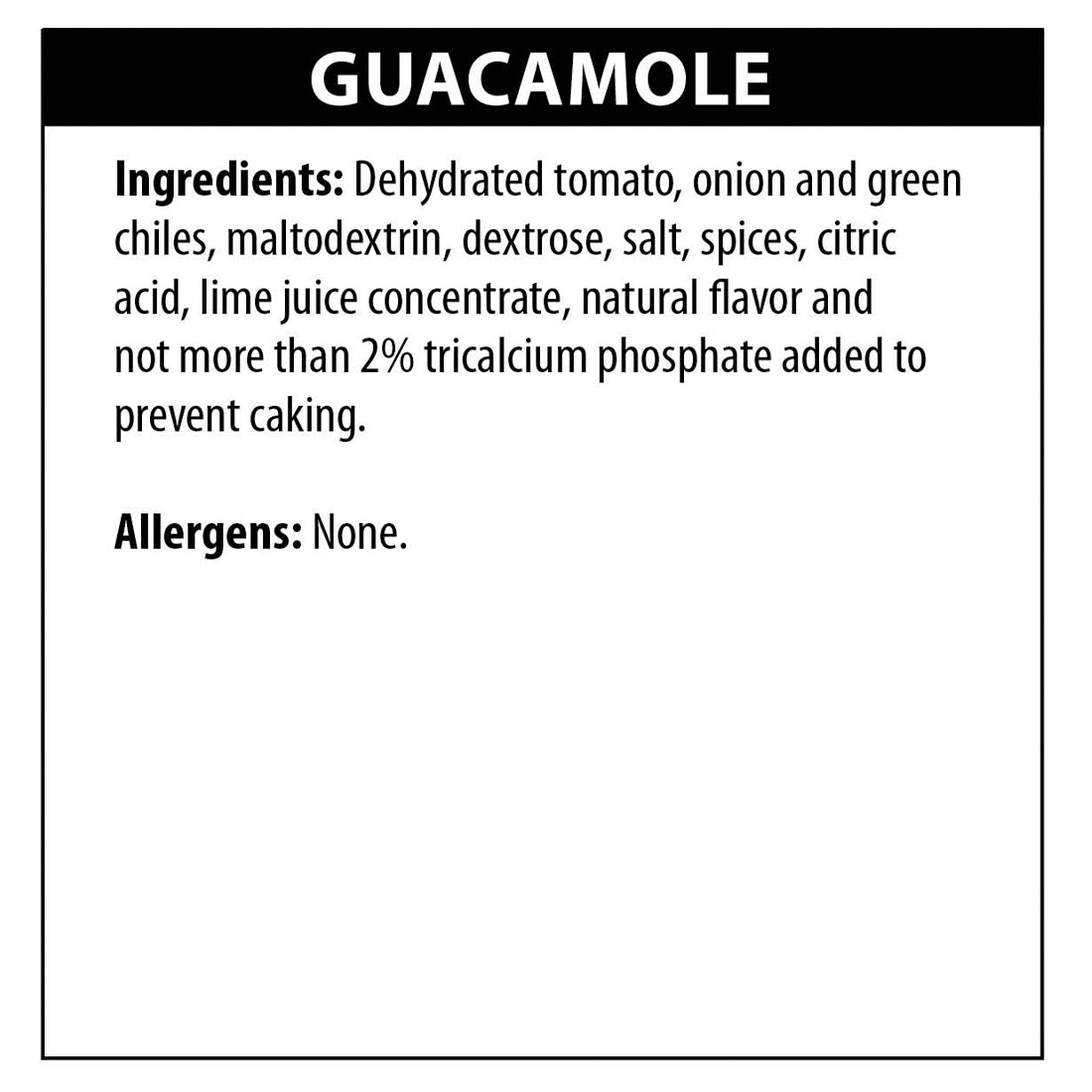 Guacamole Dip Ingredients