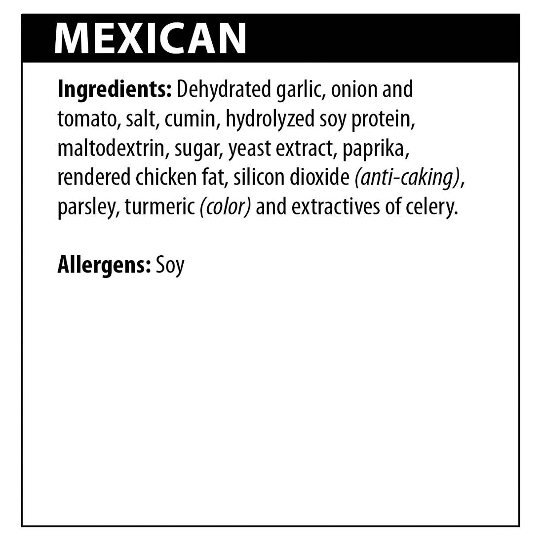 Mexican Seasoning Ingredients