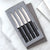 Four Serrated Steak Knives Gift Set with silver handles in a black-lined gift box