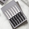 Six Serrated Steak knives Gift Set with black handles with four knives in gift box.