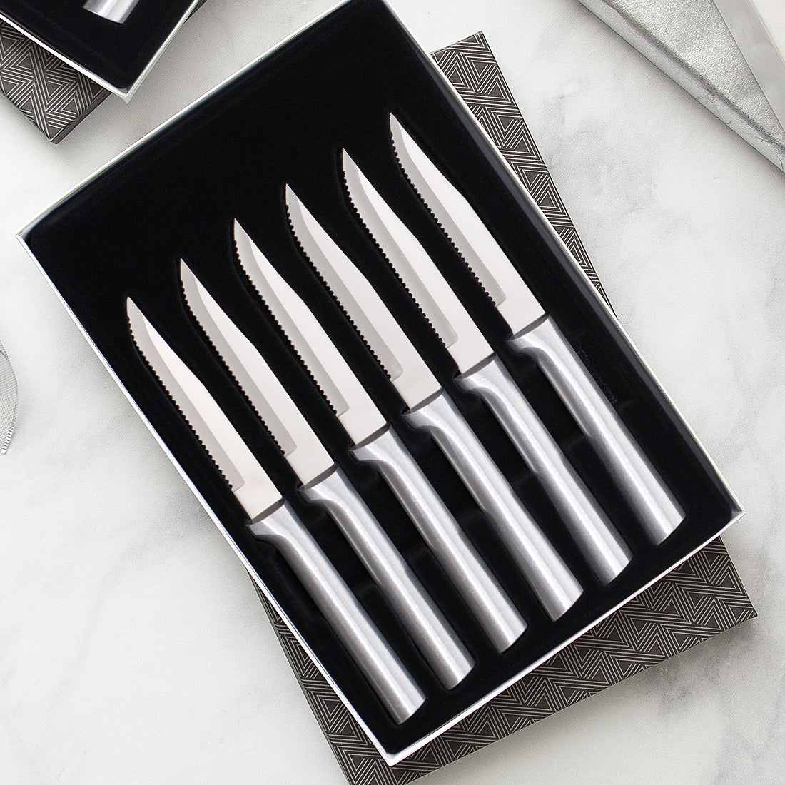 Rada Cutlery Six Serrated Steak knives Gift Set with silver handles.