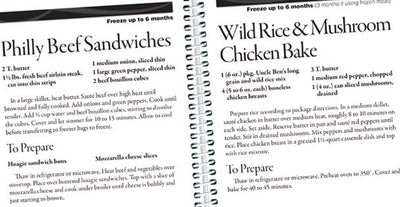 Two pages about how to make Philly Beef Sandwiches and Wild Rice & Mushroom Chicken Bake