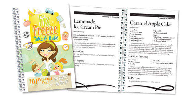 Fix, Freeze, Take & Bake front cover and two example pages
