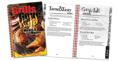 Grills Gone Wild-Meats & Mains front cover with two example pages
