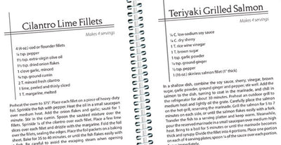 Two example pages about how to make Cilantro Lime Fillets and Teriyaki Grilled Chicken