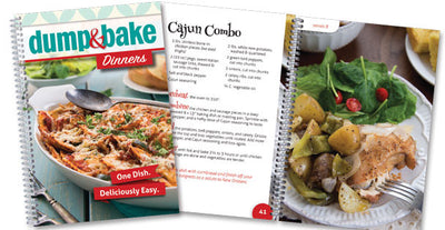 Dump & Bake Dinners front cover next to two example pages