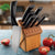 Rada Cutlery Anthem Oak Block Gift Set with black handles in wood base.