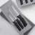 Rada Cutlery Anthem Slice & Pare Set showing knives with black handles in gift set.