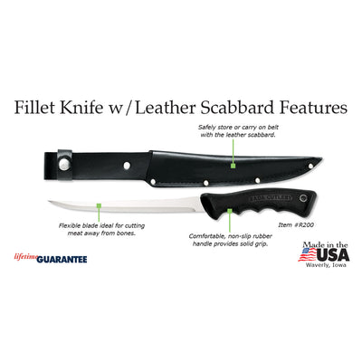 Fillet Knife w/ leather scabbard - Item R200