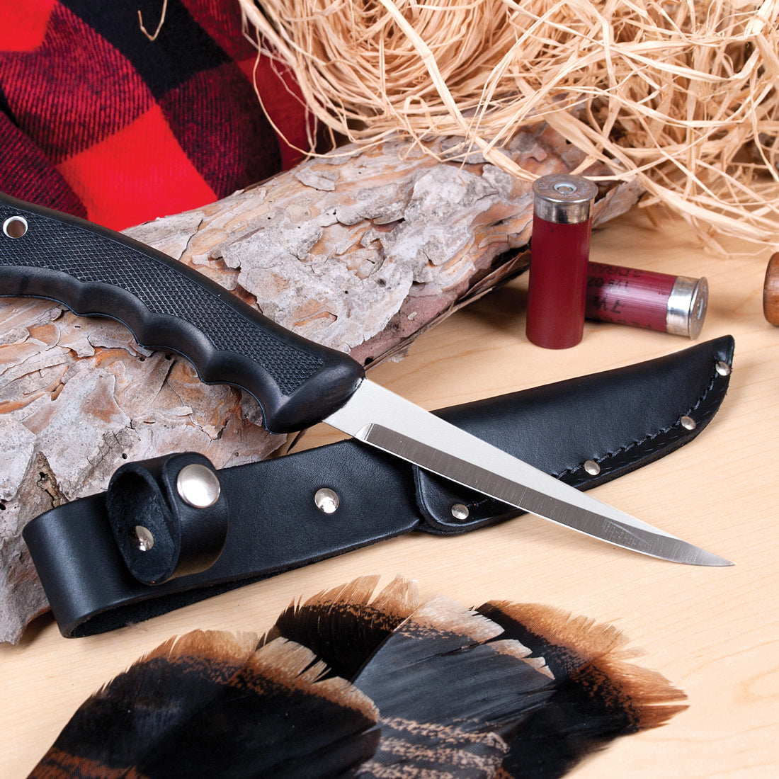 Sportsman Knife & Leather scabbard