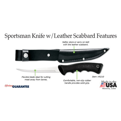 Sportsman Knife w/ leather scabbard - Item R210