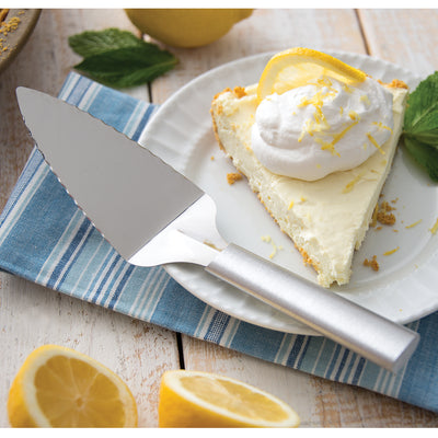 Serrated Pie Serve with silver handle and lemon pie slice.