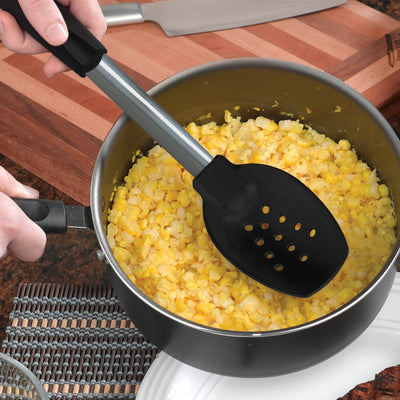 Non-Scratch Spoon w/Holes scooping out corn from pot